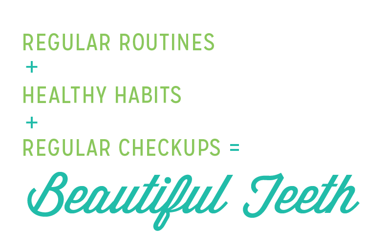 Crossroads Dental Office saying: Regular routines + Healthy habits + Regular checkups = Beautiful Teeth